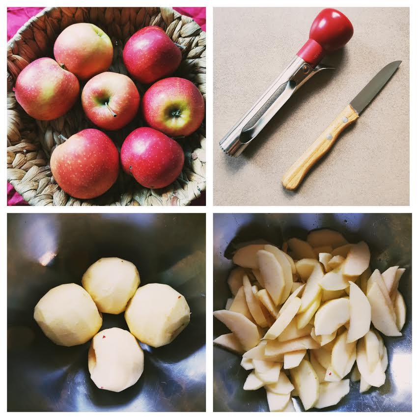 zuckerfreier Apfelkuchen vom Blech -Apfel schälen, Apfelspalten