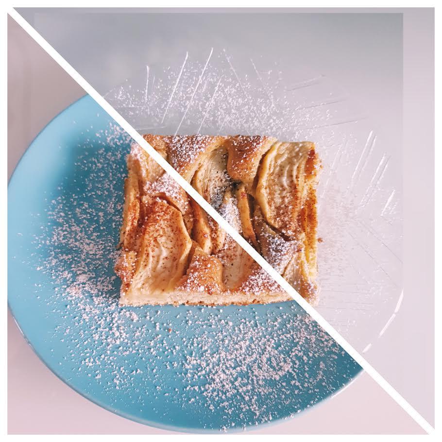 zuckerfreier Apfelkuchen vom Blech Apfelkuchen geschnitten mit Puderzucker