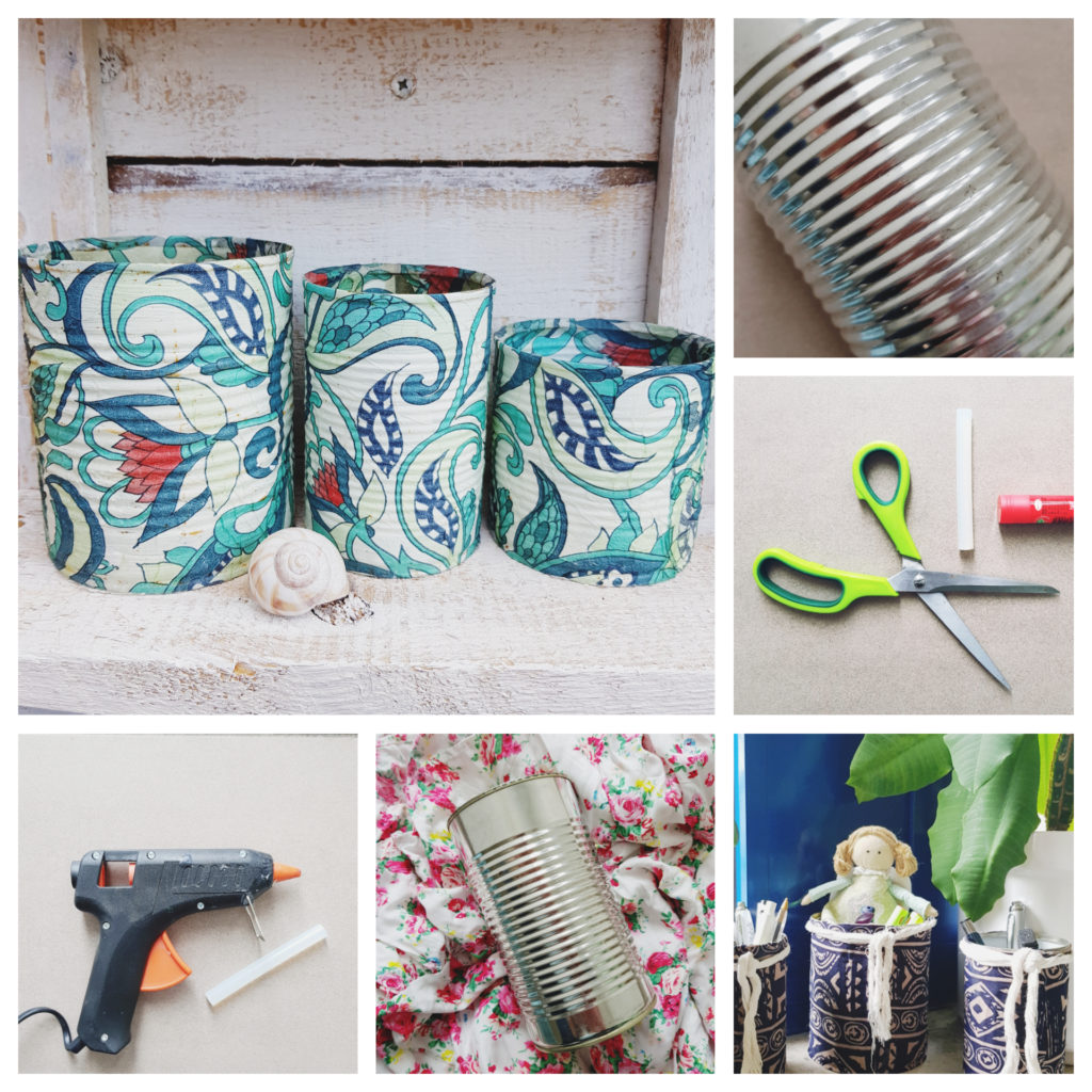Alte Dosen hübsch gestalten - DIY, Dosen Collage, Konservendosen basteln